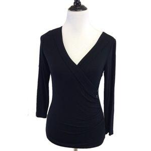 S CABI 553 Black Cross over surplice blouse